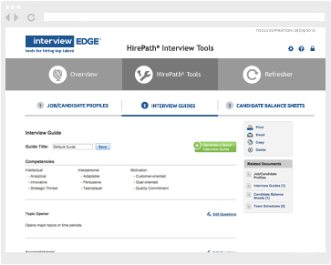 Interview guides management screenshot from HirePath� online interview tools
