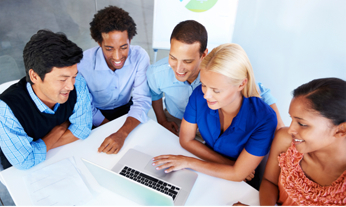 Diversity recruiting team at conference table